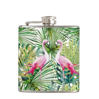 Aloha Flamingo Bird Animal in Jungle Hip Flask