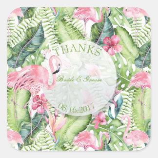 Aloha Flamingo Tropical Beach Wedding Thanks Square Sticker