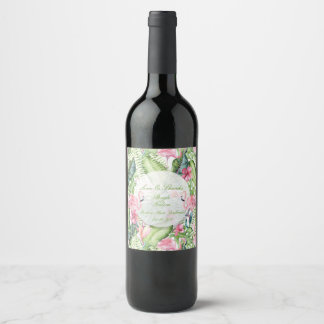 Aloha Flamingo Tropical Beach Wedding Wine Label