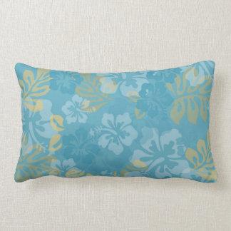 Aloha Floral in Blues and Yellows Lumbar Pillow