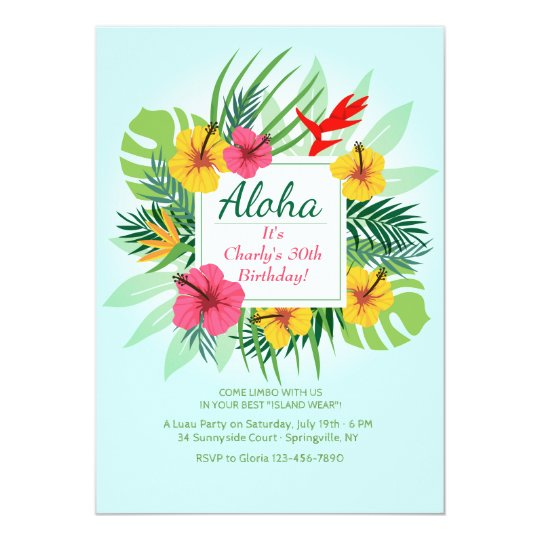 Aloha Floral Invitation