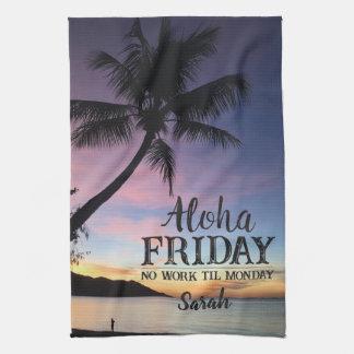 Aloha Friday Hello Weekend Hawaii Palm Sunset Tea Towel