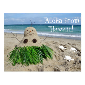 Aloha from Hawaii Christmas Snowman Sandman Postcard