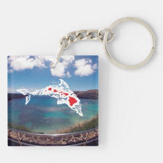 Aloha Hanauma Bay Hawaii Dolphin and Turtle Key Ring
