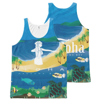 Aloha Hanauma Bay Hawaii  Hula Dancer All-Over Print Singlet