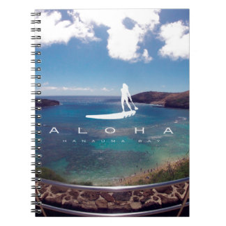 Aloha Hanauma Bay Hawaii Surfing Spiral Notebook