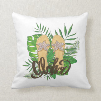 Aloha Hand Painting Palm Leaves Hand Drawn Throw Pillow