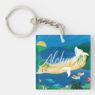 Aloha Hawaii Dolphin and Whale Key Ring