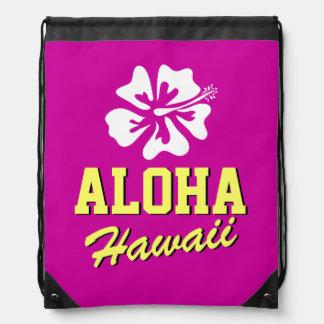 Aloha Hawaii flower beach drawstring backpack bag