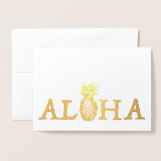 ALOHA Hawaii Hawaiian Luau Tropical Pineapple Foil Card