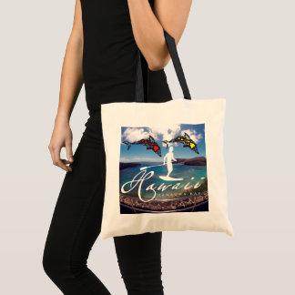 Aloha Hawaii Islands Dolphins Surfer Tote Bag