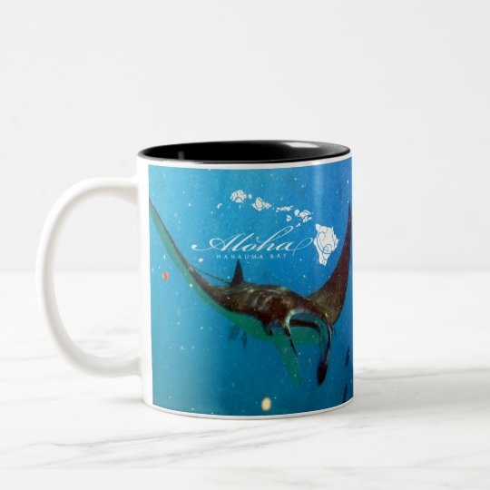 Aloha Hawaii Manta Ray and Hawaii Islands Two-Tone Coffee Mug