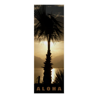 Aloha Hawaii Palm Trees Tropics Sunset Travel Poster