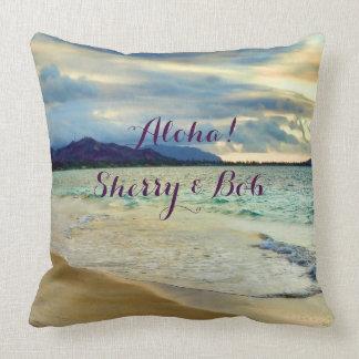Aloha Hawaii Scenic Coast Throw Pillow