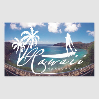 Aloha Hawaii Stand Up Paddling Rectangular Sticker