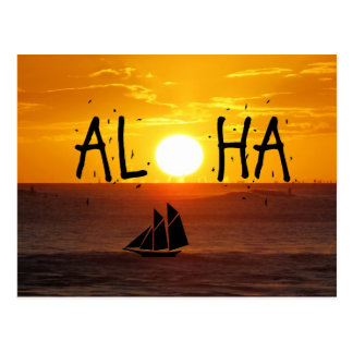 Aloha Hawaii Sunset Ocean Sailboat Postcard