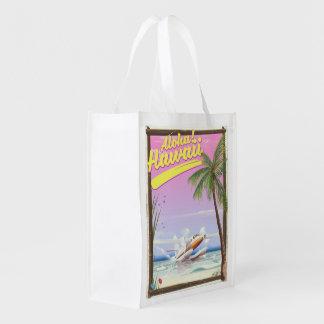 Aloha! Hawaii Vintage style travel poster Reusable Grocery Bag