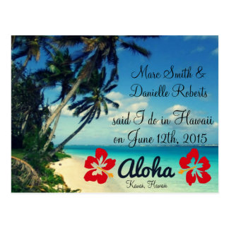 Aloha Hawaii Wedding Announcement Postcards