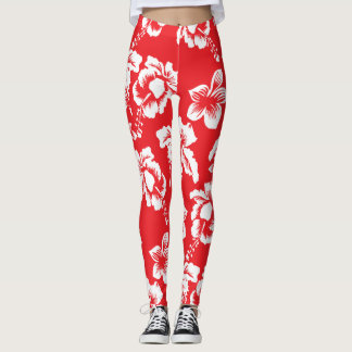 Aloha Hawaiian Hibiscus Floral Pattern Leggings