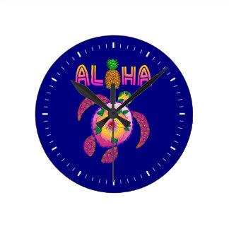 Aloha Hawaiian Honu Turtle Round Clock