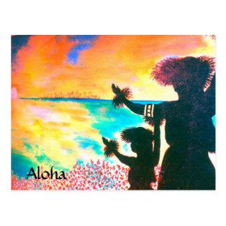 Aloha Hawaiian Hula Postcard