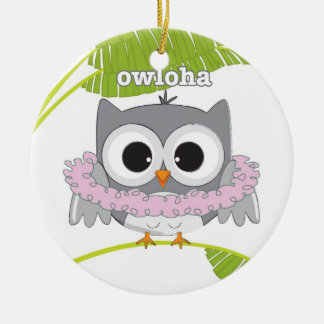 Aloha Hawaiian Owl Ceramic Ornament