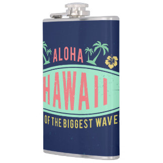 Aloha Hawaiian Surfer custom monogram flasks
