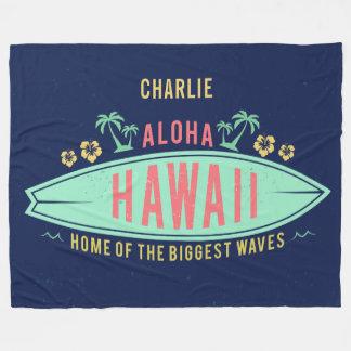 Aloha Hawaiian Surfer custom name fleece blanket