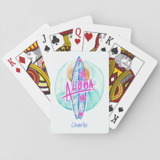Aloha Hawaiian Surfer custom name playing cards