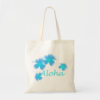 Aloha Hawaiian Tropical Flower Aqua Tote Bag