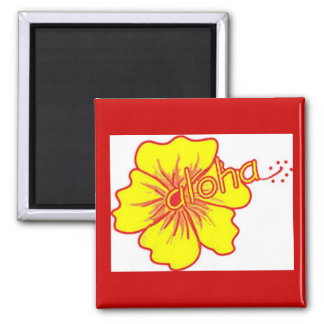 Aloha Hibiscus by Artistic Vibe Square Magnet