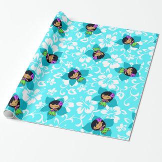 Aloha Honeys Hawaiian Hula Girl Wrapping Paper