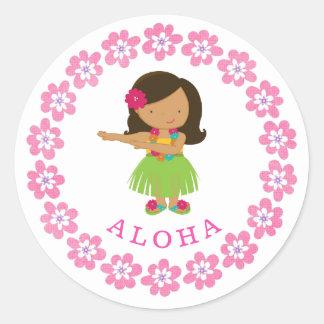 Aloha Hula Dancer Classic Round Sticker
