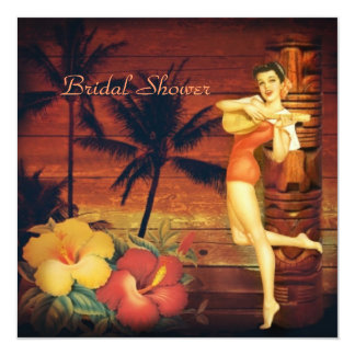 Aloha Hula Girl hawaii retro beach bridal shower Card