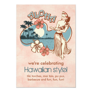 "Aloha Hula Girl Party Invitation 5"" X 7"" Invitation Card"