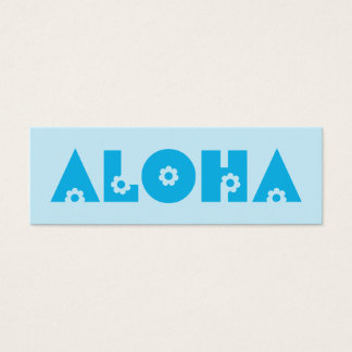 Aloha in Blue Flowers Mini Business Card