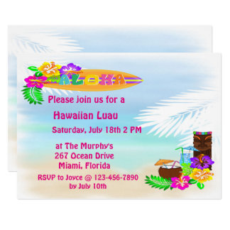 Aloha Luau Invitations