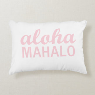 Aloha Mahalo Typography in Light Pink Decorative Cushion