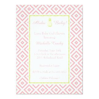 Aloha Mint/Peony Hawaiian Luau Shower Invitation