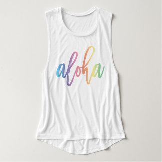Aloha | Pastel Rainbow Script Singlet
