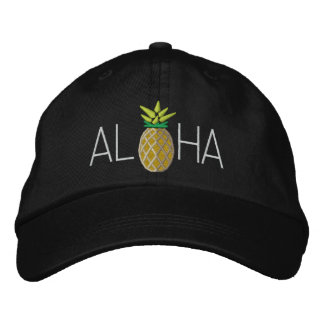 Aloha Pineapple Embroidery Graphic on Embroidered Hat