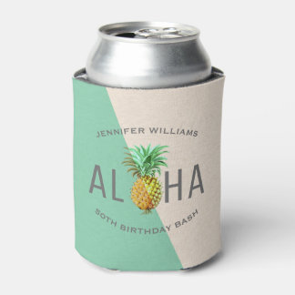 Aloha Pineapple, Linen Texture 50th Birthday Bash Can Cooler