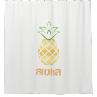 aloha pineapple shower curtain