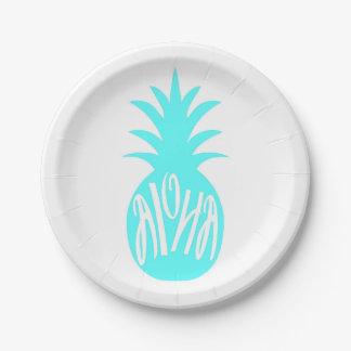 Aloha Pineapple Towel 7 Inch Paper Plate