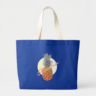 Aloha Pineapple Tropical Hawaii Beach Tote Navy