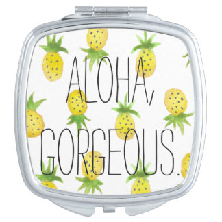 Aloha Pineapple Watercolor Compact Mirror