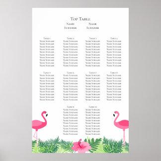 Aloha Pink Flamingo Tropical Wedding Seating Plan Poster