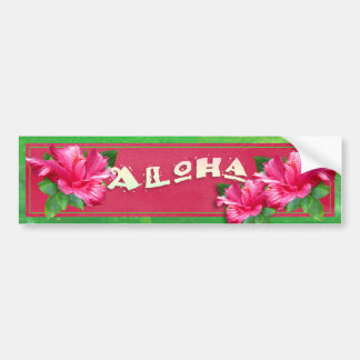 Aloha Pink Hibiscus Decorative Bumper Sticker