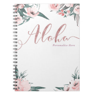 Aloha Pink Tropical Floral Modern Watercolor Notebook