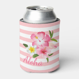 Aloha Pink Tropical Flowers and Stripes Can Cooler